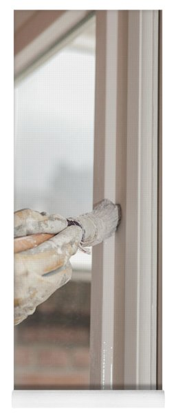 Painting A Window With White Yoga Mat
