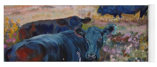 Painting Of Three Black Cows In Landscape Without Sky Yoga Mat
