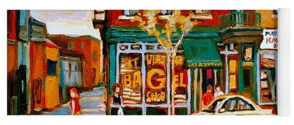 Paintings Of  Famous Montreal Places St. Viateur Bagel City Scene Yoga Mat