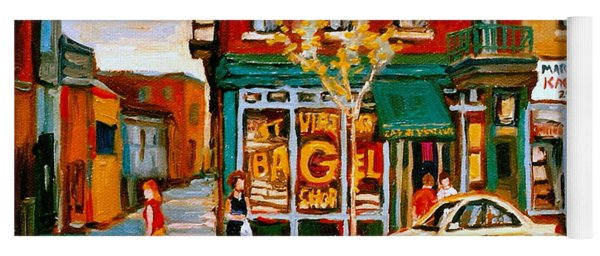 Paintings Of  Famous Montreal Places St. Viateur Bagel City Scene Yoga Mat