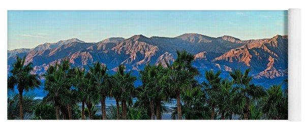 Palm Trees With Mountain Range Yoga Mat