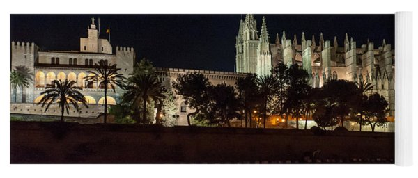 Palma Cathedral Mallorca At Night Yoga Mat