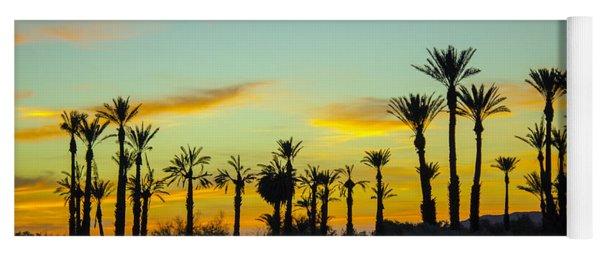 Palm Trees At Dawn Yoga Mat