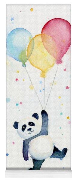 Panda Floating With Balloons Yoga Mat