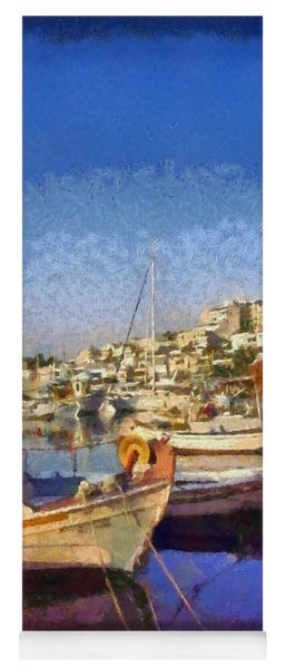 Panoramic Painting Of Mikrolimano Port Yoga Mat