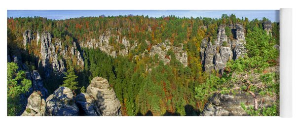 Panoramic View Of The Elbe Sandstone Mountains Yoga Mat
