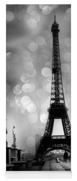 Paris Eiffel Tower Surreal Black And White Photography - Eiffel Tower Bokeh Surreal Fantasy Night  Yoga Mat