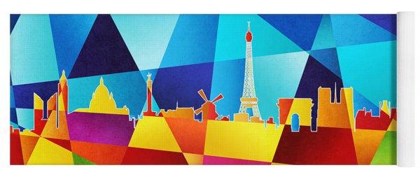 Paris France Skyline Yoga Mat