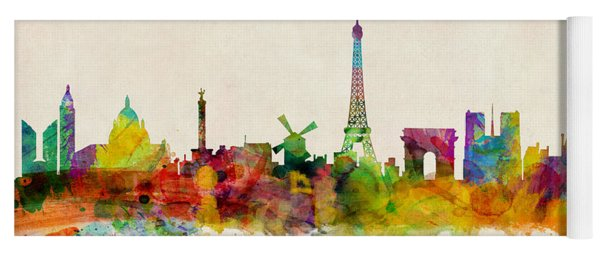 Paris France Skyline Panoramic Yoga Mat