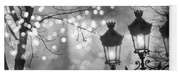 Paris Christmas Sparkle Lights Street Lanterns - Paris Holiday Street Lamps Black And White Lights Yoga Mat