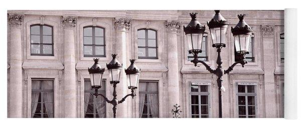 Paris Place Vendome Pink And Black Architecture - Paris Pink Black Street Lanterns Architecture  Yoga Mat