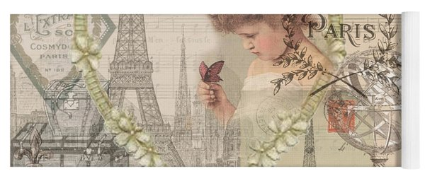 Paris Vintage Collage With Child Yoga Mat