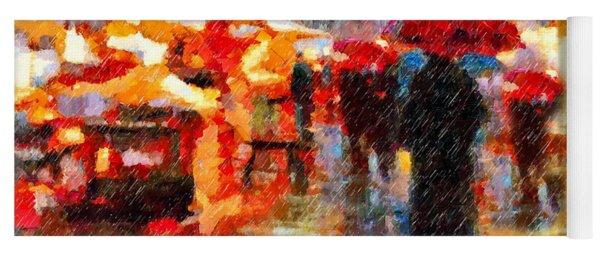 Parisian Rain Walk Abstract Realism Yoga Mat