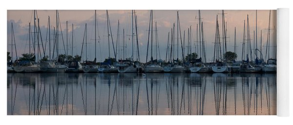 Pastel Sailboats Reflections At Dusk Yoga Mat