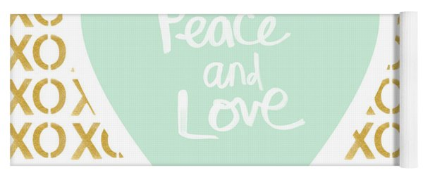 Peace And Love In Aqua And Gold Yoga Mat