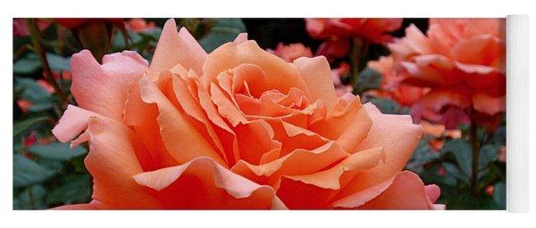 Peach Roses Yoga Mat