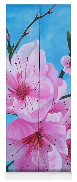 Peach Tree In Bloom Diptych Yoga Mat