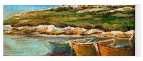Peggys Cove With Fishing Boats Yoga Mat