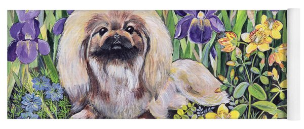 Peke In The Flower Bed Acrylic On Canvas Yoga Mat