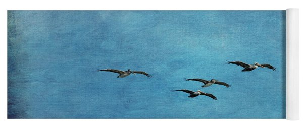 Yoga Mat featuring the photograph Pelicans In Flight by Mary Jo Allen
