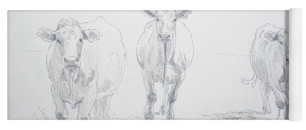 Pencil Drawing Of Three Cows Yoga Mat