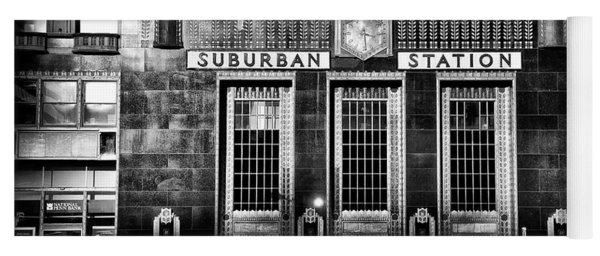 Yoga Mat featuring the photograph Pennsylvania Railroad Suburban Station In Black And White by Bill Cannon