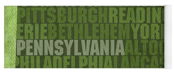 Pennsylvania Word Art State Map On Canvas Yoga Mat