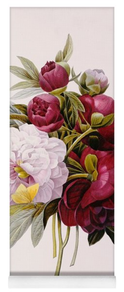 Peonies Engraved By Prevost Yoga Mat