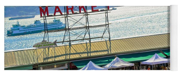 People In A Public Market, Pike Place Yoga Mat