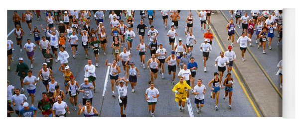 People Running In A Marathon, Chicago Yoga Mat