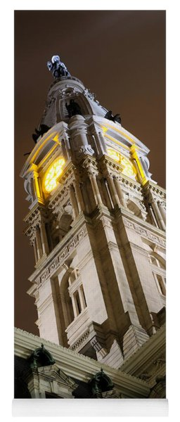 Philadelphia City Hall Clock Tower At Night Yoga Mat