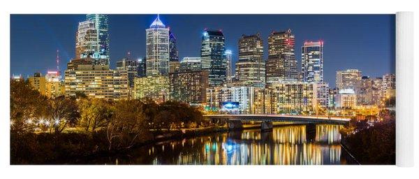 Philadelphia Cityscape Panorama By Night Yoga Mat