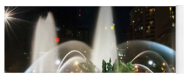 Yoga Mat featuring the photograph Philadelphia - Swann Fountain - Night by Bill Cannon