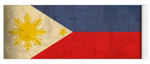 Philippines Flag Vintage Distressed Finish Yoga Mat