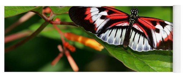 Piano Key Butterfly On Fire Bush Yoga Mat