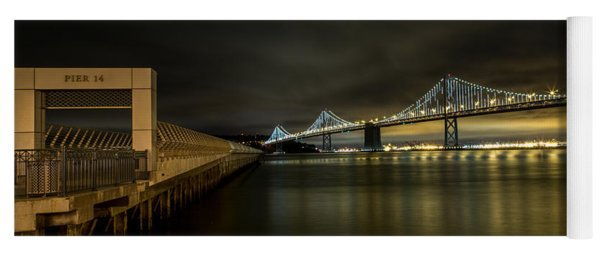 Pier 14 And Bay Bridge At Night Yoga Mat