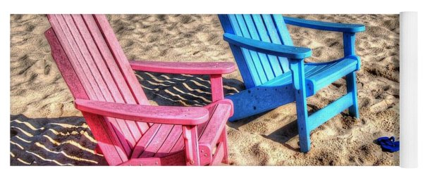 Pink And Blue Beach Chairs With Matching Flip Flops Yoga Mat