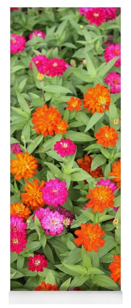 Pink And Orange Flowers Yoga Mat