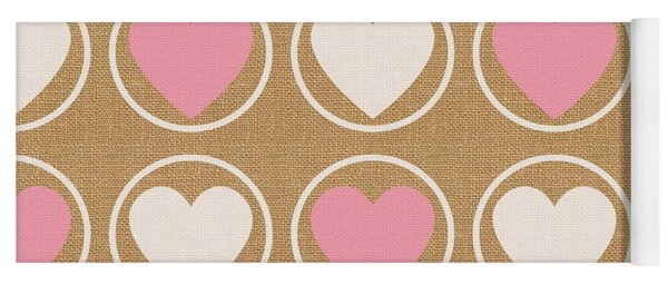 Pink And White Hearts Yoga Mat