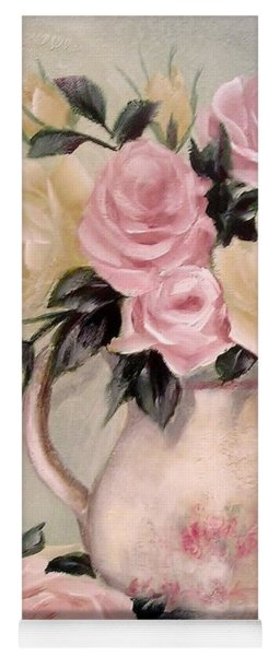Pink And Yellow Roses In Teapot Painting Yoga Mat