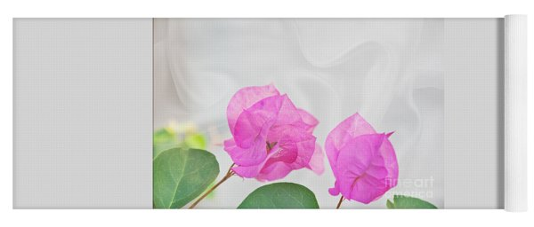 Pink Bougainvillea Flowers On White Silk Art Prints Yoga Mat