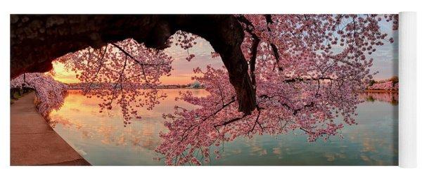 Pink Cherry Blossom Sunrise Yoga Mat