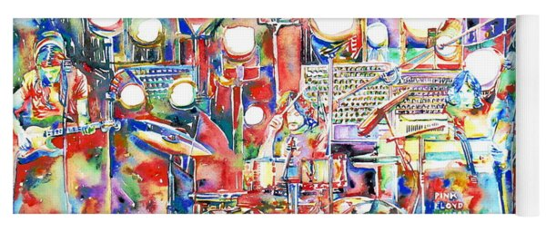 Pink Floyd Live Concert Watercolor Painting.1 Yoga Mat