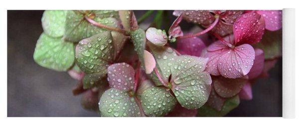 Pink Green And Rain Yoga Mat