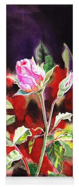 Pink Rose Bloom Yoga Mat