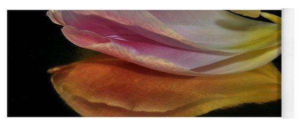 Pink Tulip Petal Reflected On Black Yoga Mat
