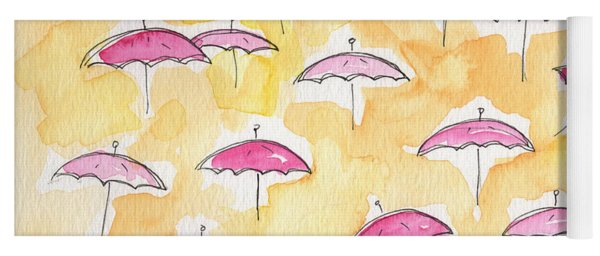 Pink Umbrellas Yoga Mat