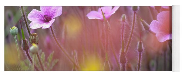 Pink Wild Geranium Yoga Mat