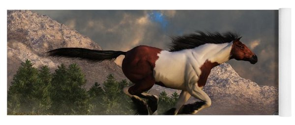 Yoga Mat featuring the digital art Pinto Mustang Galloping by Daniel Eskridge