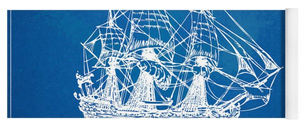 Pirate Ship Blueprint Artwork Yoga Mat